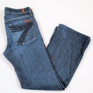7 FAM Dojo 26 Medium Wash Flare Jeans Blue Stitch